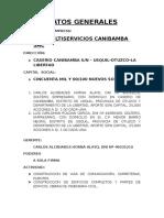 Datos Generales Empresa CIA Canibamba