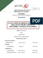 Evaluation Du Risque Lie Aux Sites Pollues en Milieu Urbain Et Industriel (Annaba Ne Algerien)