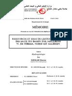 Ressources Et Essai de Gestion Intégrée Des Eaux Du Bassin d'El Malabiod w. de Tébessa, Nord-est Algérien