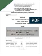 Typologie de Rapports Entre La Ville de Constantine Et Son Rhumel-boumerzoug