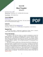 MAE 589 Heat Transfer Syllabus (Spring 2015)