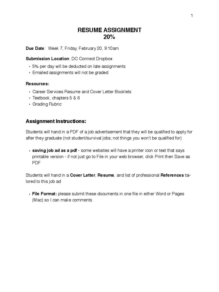 resume assignment and rubric | Résumé | Portable Document Format