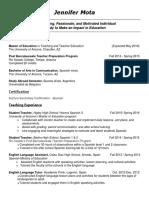 jennifer mota teaching resume