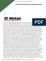 A l'Attention de Monsieur Directeur de La Publication El Watan