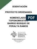 Proyecto Ordenanza Nomenclador Toponomastico Bosque Peralta Ramos