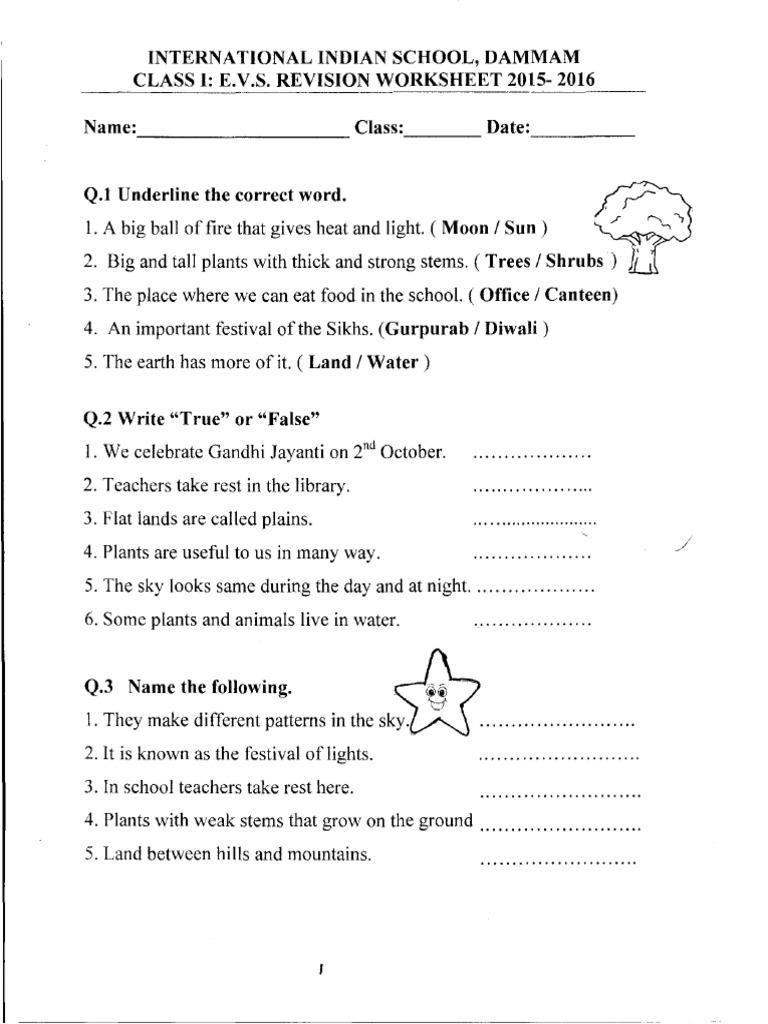Evs Work Sheet 1