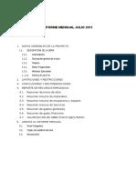 Informe Mensual Julio 2015 de la Obra Construcción del Sistema de Agua y Alcantarillado
