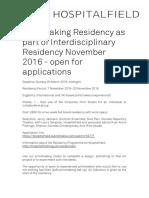 Print Making Residency November 2016