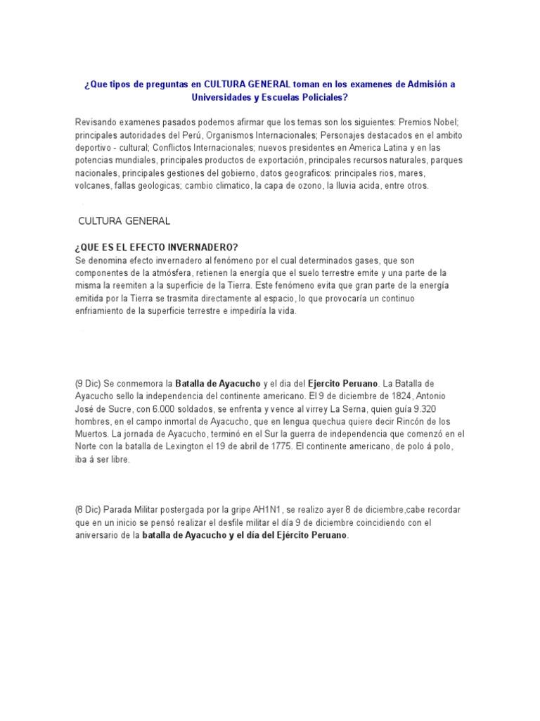 Cultura General Toman En Los Examenes De Admision A Universidades Y Escuelas Policiales Tierra Peru