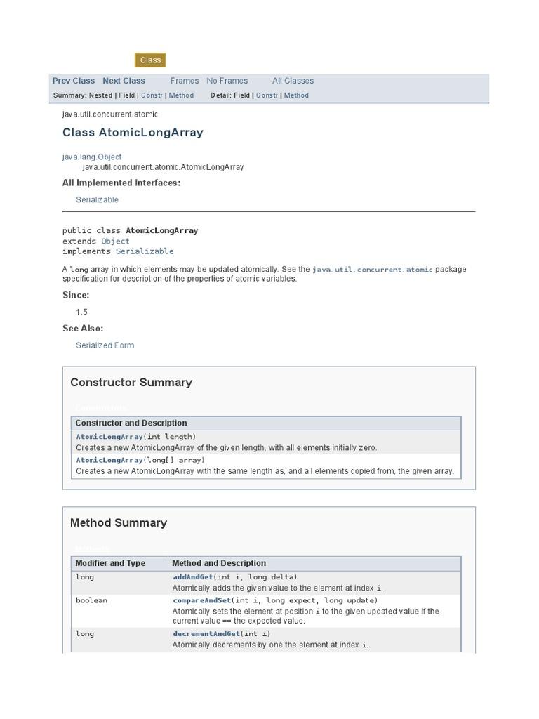 AtomicLongArray (Java Platform SE 7 )   Array Data Structure