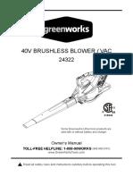 Greenworks Blower Manual