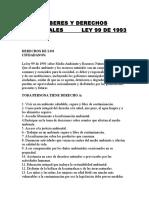 Deberes y Derechos de La Ley 99 de 1993