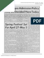 The Daily Tar Heel Wed Mar 21 1951 (New Negro Admit Policy Mtg)