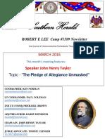 Robert E lee Camp 1589 Newsletter Southern Herald Feb2016