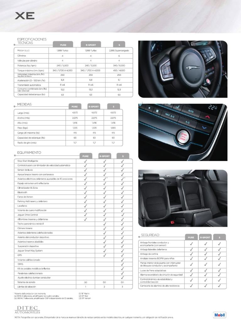 Ficha T U00e9cnica Jaguar Xe 2016