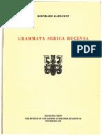 Grammata Serica Recensa by Bernhard Karlgren