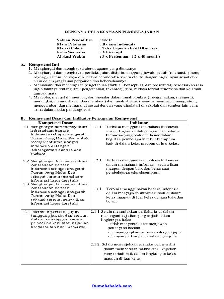 Contoh Rpp Teks Laporan Hasil Observasi Smp Kelas Vii