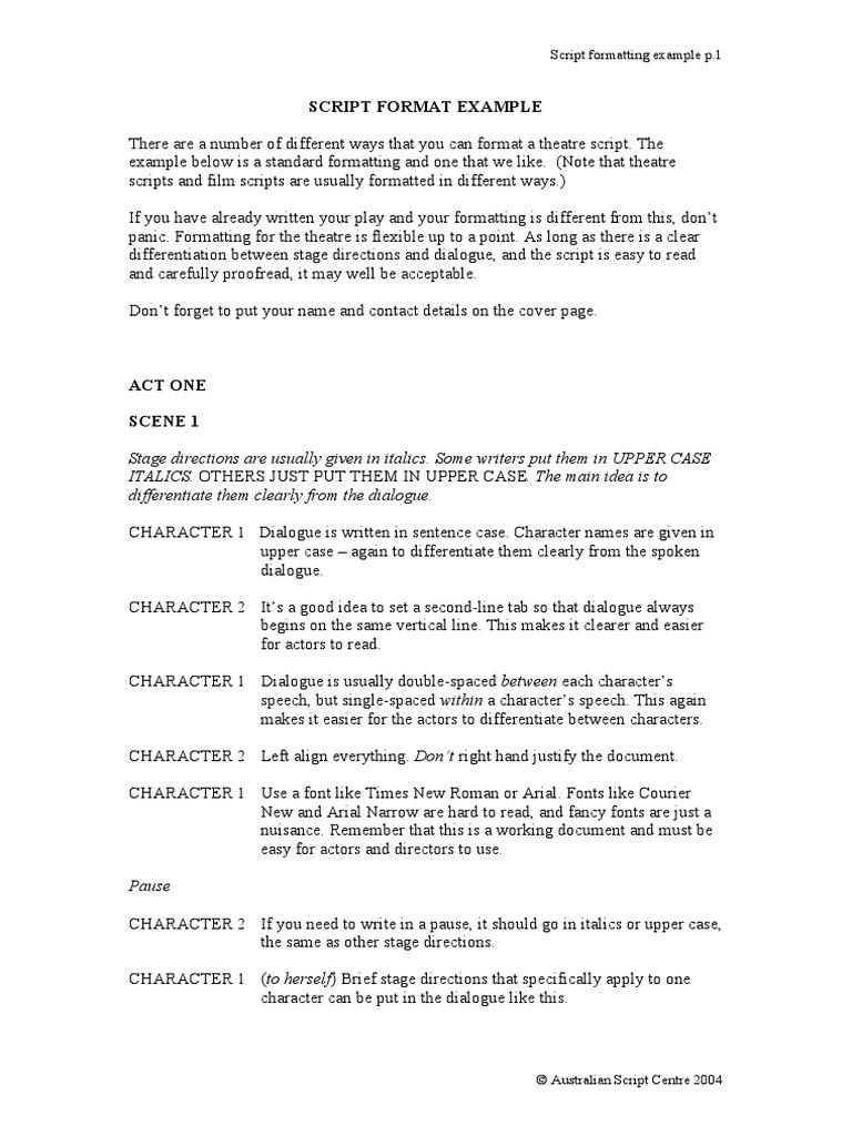 Script Format Example PDF  PDF