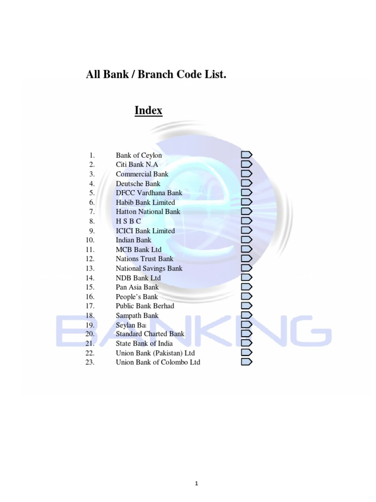 All Bank Branch Codes | Sri Lanka | Economy Related