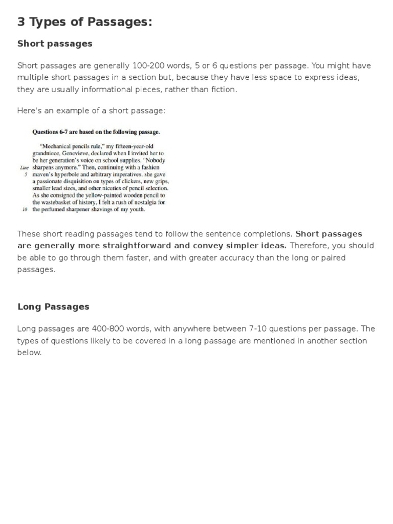 - 3 Types Of Passages Sat Reading Comprehension Free 30-day