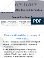 Intonation (The Structure of the Tone Unit, & Function of Intonation) - Phonology