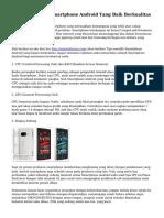 Tips Menyeleksi Smartphone Android Yang Baik Berkualitas