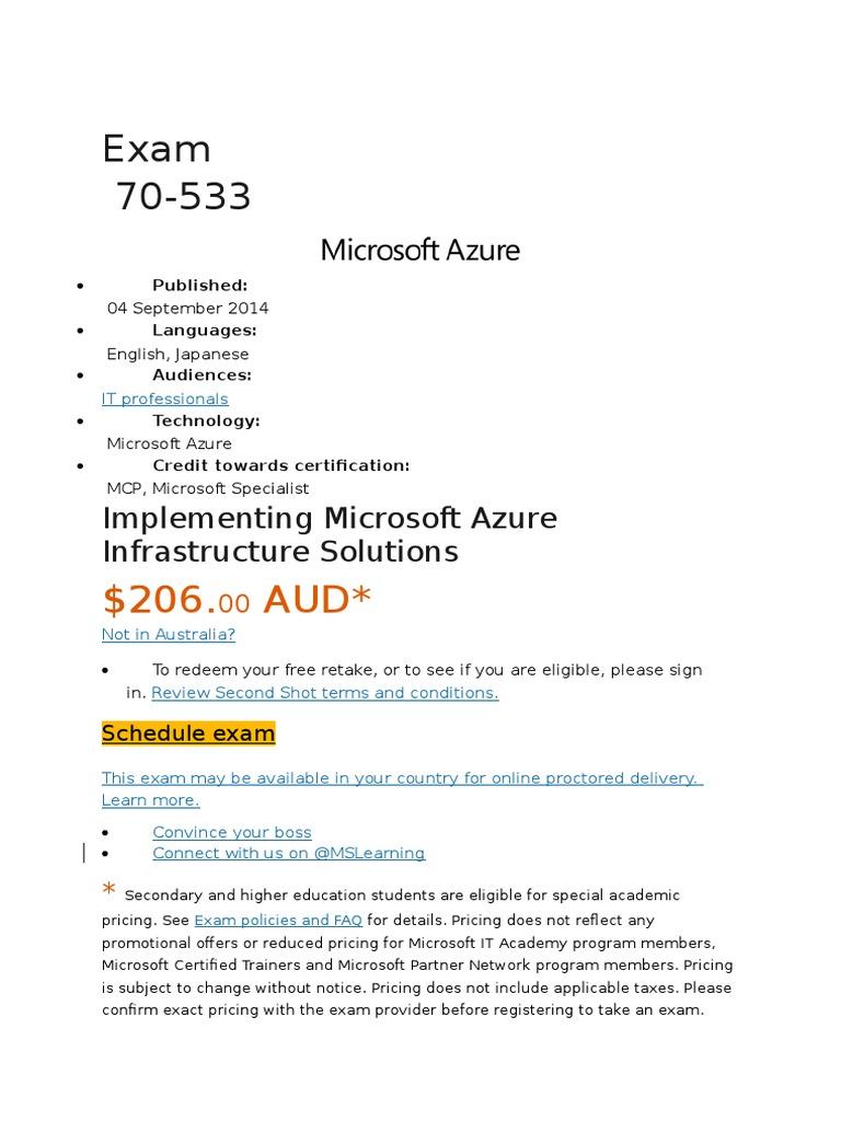 Microsoft Azure 70 533 Exam Syllabus Test Assessment Cloud