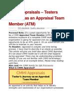 CMMI Appraisals – Testers Journey as an Appraisal Team Member