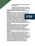Puntos Importantes Del Programa Especial de Equidad de Género Del Municipio de Othón P