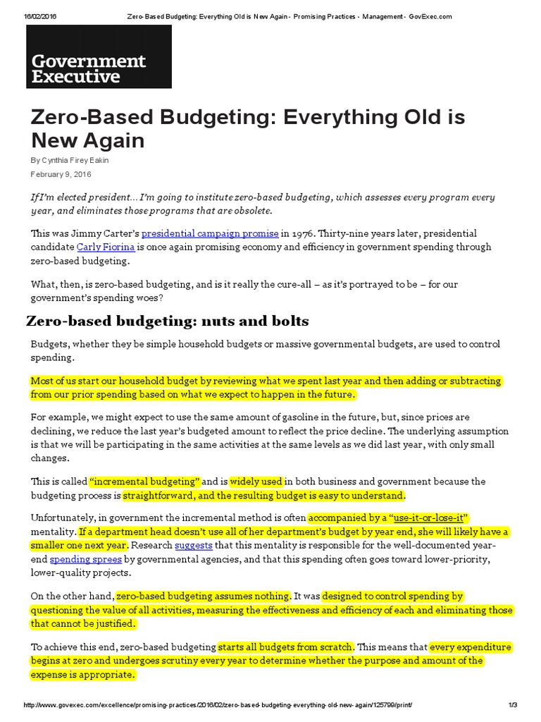 Zero Based Budgeting Chief Financial Officer Budget