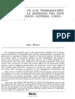 Max Weber La Situacion De Los Trabajadores Agricolas En La Alemania