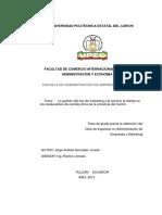 Gestión Del Mix de Marketing y El Servicio Al Cliente en Los Restaurantes de Comida China de La Provincia Del Carchi - González, Jorge Andrés