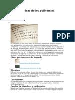 Características de Los Polinomios