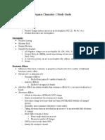 Orangic Chemistry 1 Study Guide