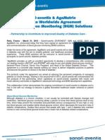 AgaMatrix & Sanofi-Aventis Enter Global Diabetes Partnership