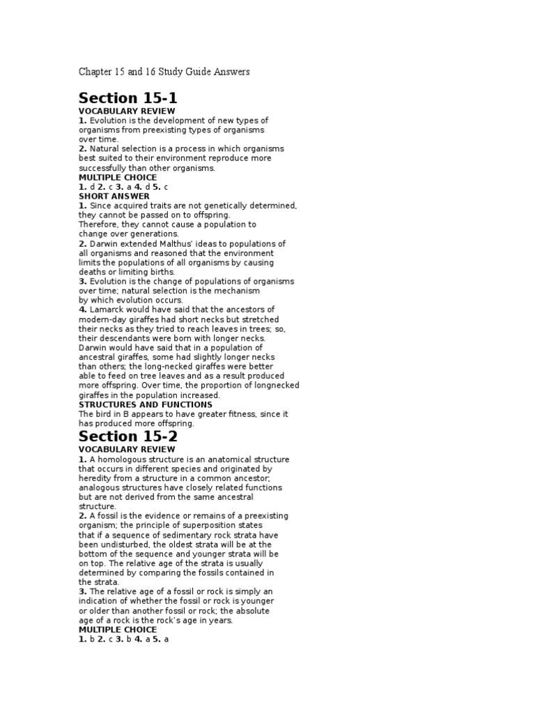 Chapter 15 And 16 Study Guide Answers Natural Selection Evolution