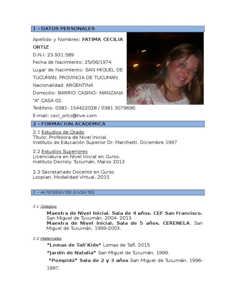 Curriculum Cecilia Ortiz