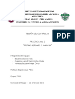 Práctica No. 2. Matlab Aplicada a Matrices. Teoria del control III. ICA