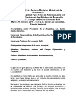 Discurso de Gustavo Montalvo, ministro de la Presidencia, en la Conferencia Magistral
