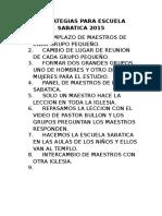 Estrategias Para Escuela Sabatica 2015
