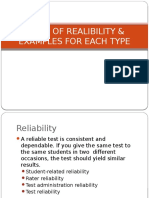 Types of Realibility & Examples for Each Type Present