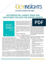 Reforming Sri Lanka's Trade and Investment Policies for Export Growth