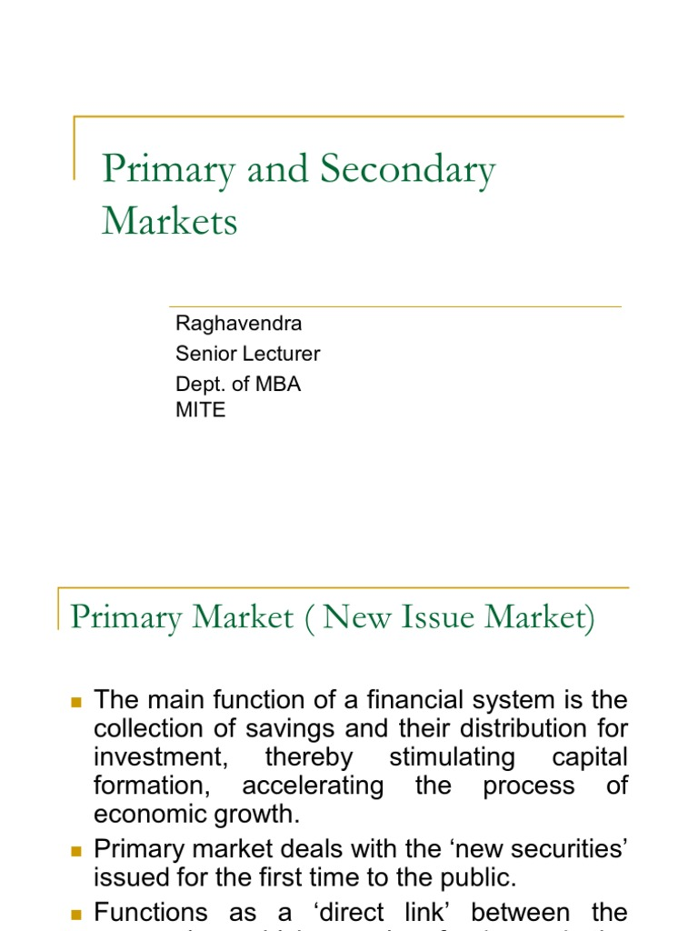 Primary And Secondary Markets Repurchase Agreement United - Primary market