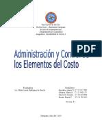 Trabajo, Costos I - Admón y Control de Los Elementos Del Costo