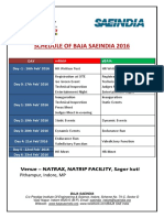 Schedule of Baja Saeindia 2016