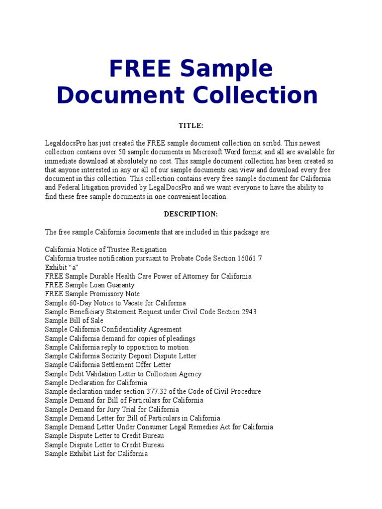 free sample document collection list california