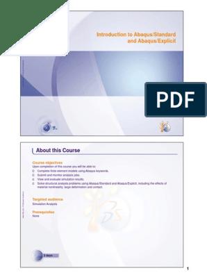 Abaqus Analysis Intro-book | Physics & Mathematics | Physics
