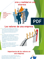 Los Valores y Realidad en Una Empresa