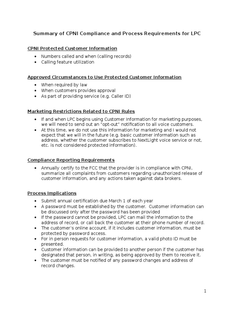 Summary Of Cpni Compliance Process Requirements For Lpccx