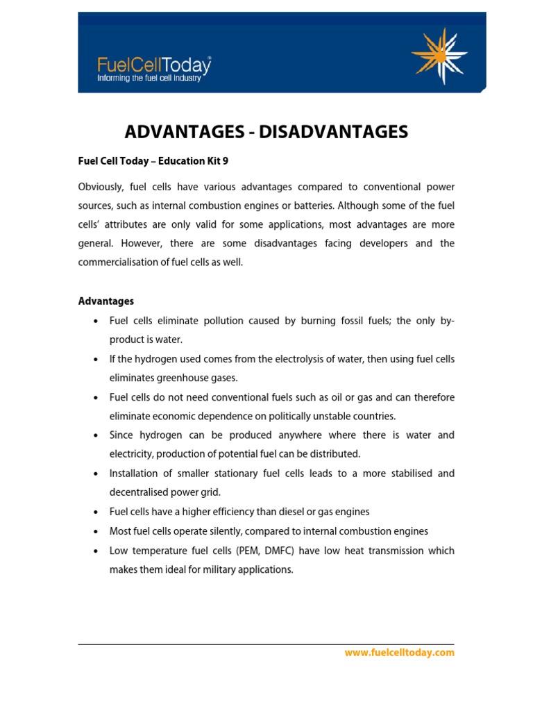 Advantage Disadvantages fuel cell hydrogen   Fuel Cell   Fuels